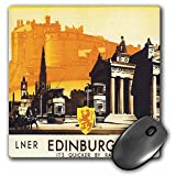 3dRose LLC 8 x 8 x 0.25 Inches Mouse Pad, Edinburgh Quicker by Rail Travel Poster with Horse and Carriage (mp_169826_1) [並行輸入品]