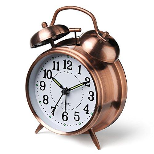 DreamSky 目覚まし時計 大音量 アナログ 置き時計 蓄光タイプ ベル音 連続秒針 ナイトライト付き (ブロンズ)