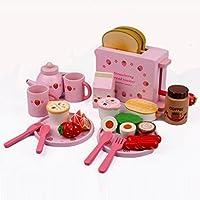 HJXDJP - 木製のままごと遊び食べ物セット、2人食 贅沢な シミュレーション朝食用食品、トースター、食器、 女の子の学習食玩