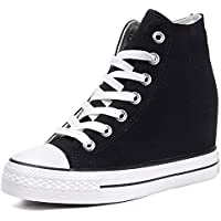Catata Women Casual Canvas Lace Up High Top Hidden Heel Wedge Shoes Platform Sneakers