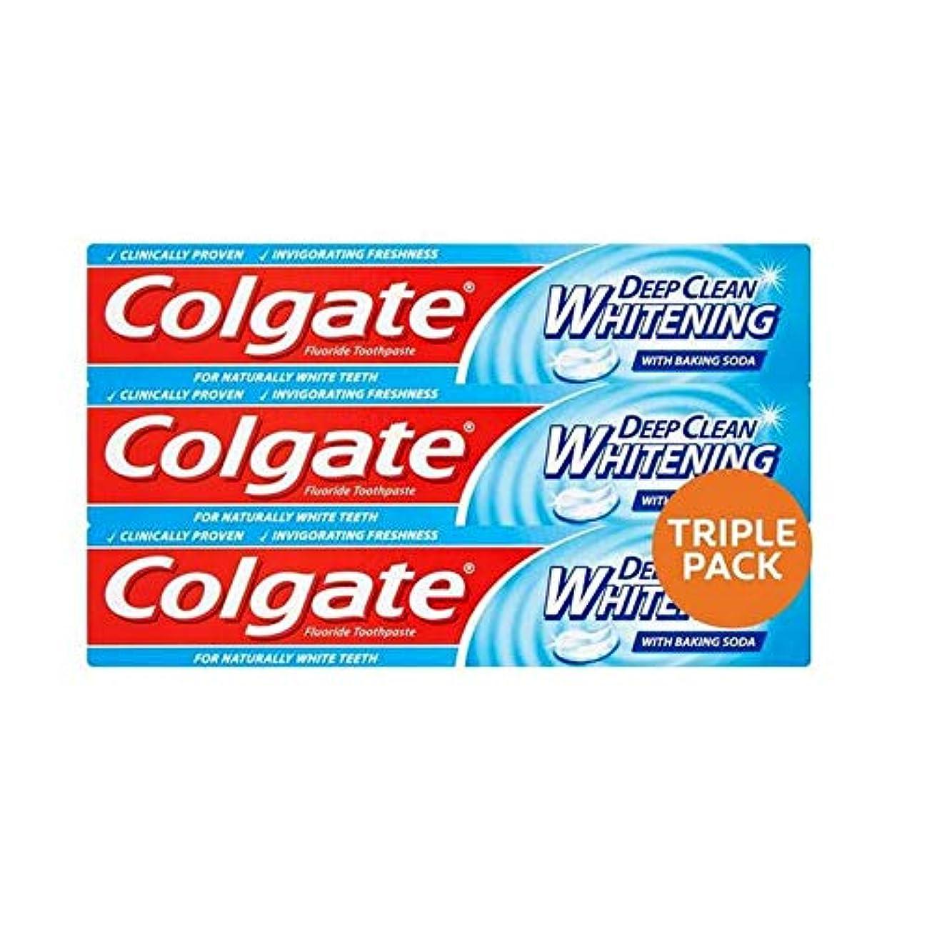 [Colgate ] コルゲート深いクリーンホワイトニング歯磨きトリプルパック3×75ミリリットル - Colgate Deep Clean Whitening Toothpaste Triple Pack 3 x 75ml...