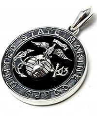 【silver925 PLUS】US MARINEオニキスペンダント【シルバー925/海兵隊/ユニセックス】pendant415