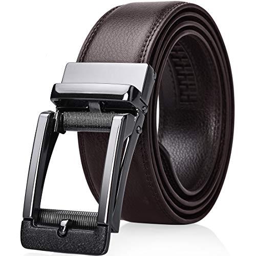 NEWHEY ベルト メンズ 牛革 高級 自動ロック式 バックル レザーベルト006-茶褐色 115cm