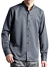 (モノマート) MONO-MART スーツ地 ストレッチ L/S シャツ バンドカラー ボタンダウン 長袖 MODE 厚手 メンズ