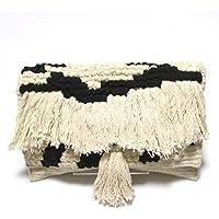 【Swaraj Bag】手織りジャガードフリンジクラッチ-BLACK