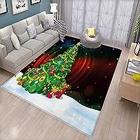 """クリスマスドアマット 内側にクローズアップ 装飾クリスマスツリーの枝 ぼかしのフェアリーバックドロップ 写真バスマット 浴槽 バスルームマット 4フィートx5フィート ゴールドグリーン レッド 5'8""""x7'6"""" (W170cm x L230cm)"""