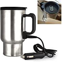 MECCION ステンレス ボトル電気ケトル 車載 保温 ボトル 12V車専用 シガーライター カーポット! 容量450ml 車中泊、お仕事に! カップラーメンに! コーヒーに! 乳児のミルク作りに!