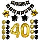 Funpa 風船 バルーン ガーランド 23点セット 誕生日 お祝い パーティー デコレーション 掛け飾り ktv ディスコ バー アルミ箔 (40歳)