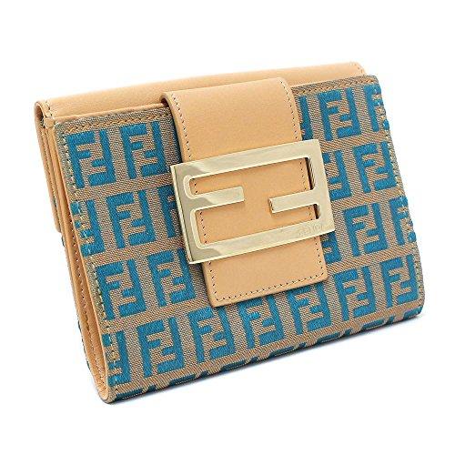 FENDI(フェンディ) ズッキーノ Wホック 二つ折り財布 キャンバス/レザー ベージュ×ブルー レディース 美品 (中古)