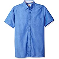 Haggar Mens 555041 Short Sleeve Shirt with Chambrey Trim Short Sleeve Button Down Shirt - Multi