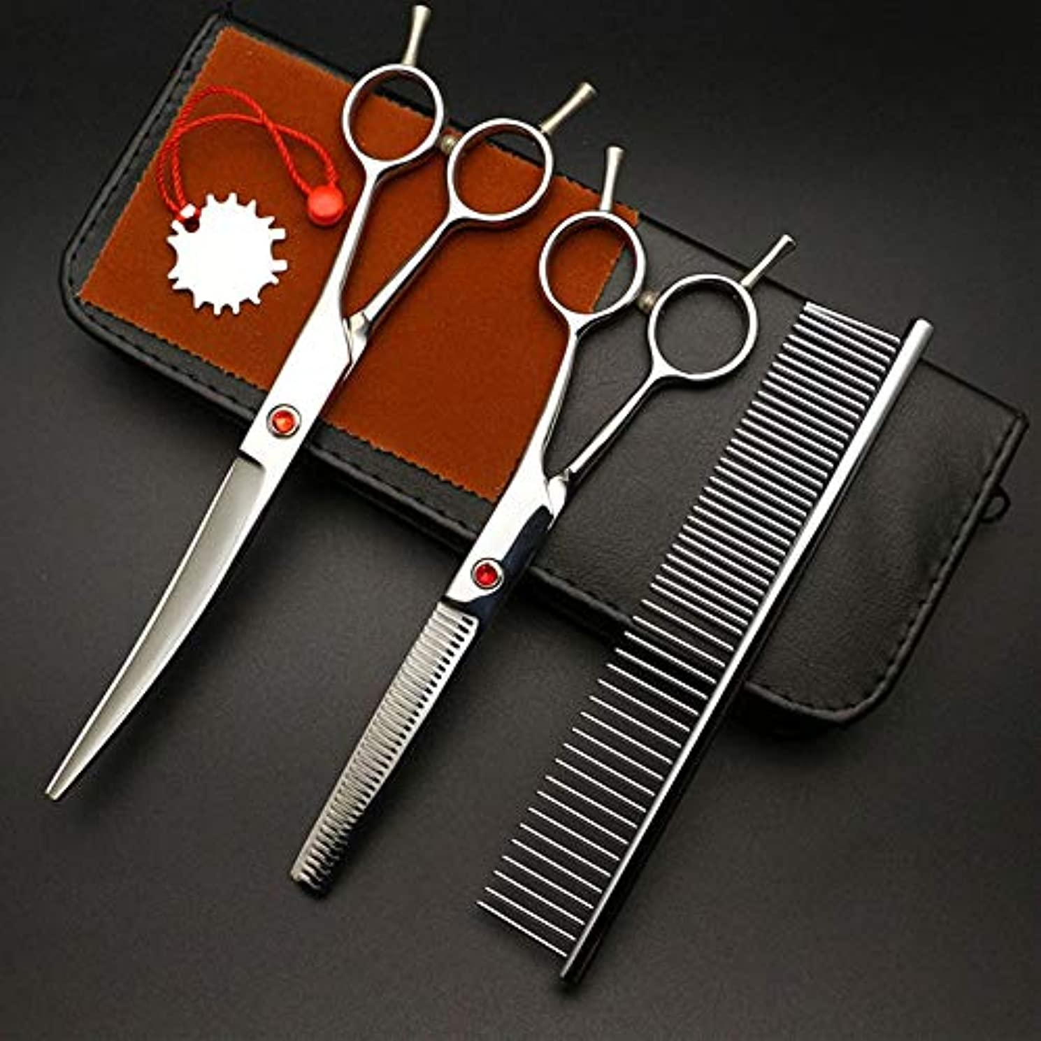 デッド抵抗指定する7インチペット用特殊美容院はさみはさみ、ヘアカットはさみ+フラットせん断セット モデリングツール (色 : Silver)