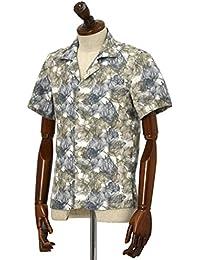 Mario Muscariello【マリオムスカリエッロ】オープンカラーシャツ HONOLULU SCLSSM043 リネン ボタニカル ブラウン×ネイビー