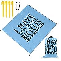 SUNJANレジャーシート 自転車 ピクニックマットアウトドア用 持ち運び便利 洗える 防水2~6人用 ペグ カラビナ付き 150×145cm