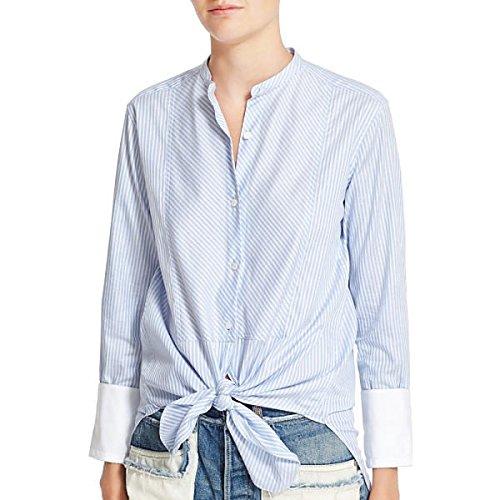 ヘルムート ラング トップス シャツ Helmut Lang Stripe Cotton Collarless Oxf Medium Blu [並行輸入品]