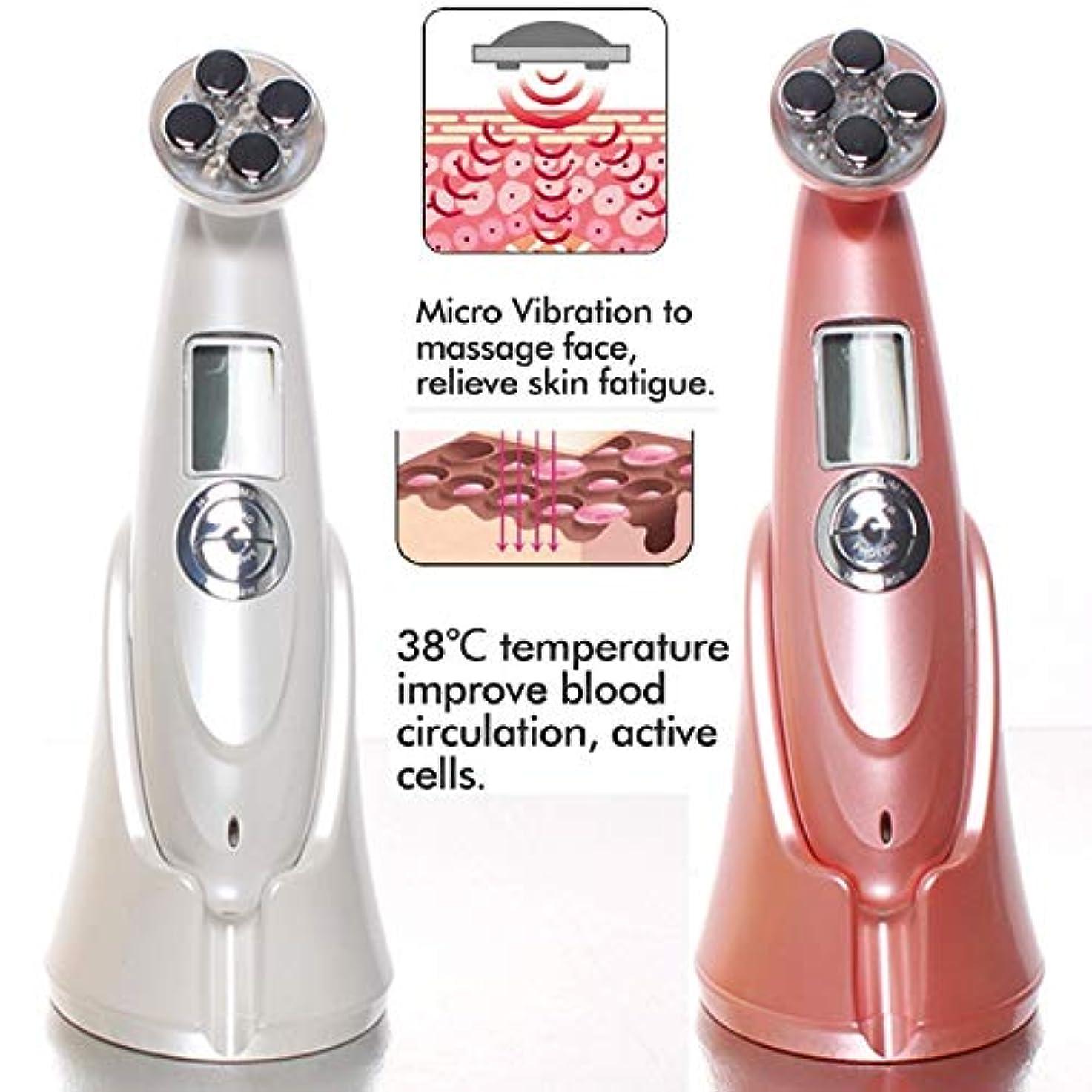 ひねくれたデータ一定LIZIB 超音波EMS美容器具LEDアップグレード版フェイシャルマッサージ器具家庭用皮膚引き締め電子美容器具 (Color : Pink, Size : 180*5*6CM)