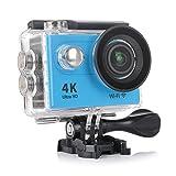 スポーツカメラ アクションカメラ 4K 高画質 KuGi 30m防水 Wi-Fi搭載 1080P フルHD 60fps HDMI 20MP + 170度広角レンズ 2.0インチ液晶画面 防水カメラ バイク/自転車/車などに取り付け可能 ブルー