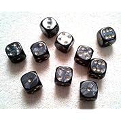 6面ダイス/サイコロ Pearl 12mm ラウンドコーナー 黒 10個セット