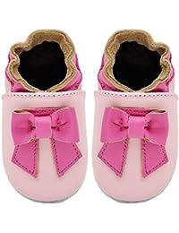 Kimi + Kai Kids Soft Sole Leather Crib Bootie Shoes - Big Bow
