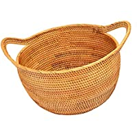 QIN 収納バスケット かご キッチン 小物 PP製 籐風かご 和風収納 食器収納 パン 果物 雑貨 コーヒー色 円型