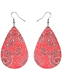 Bohemia Vintage Leather Teardrop Dangle Pierced Earrings