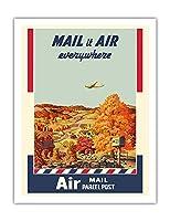航空便発送 - 小包 - 美国?政?局 - ビンテージな広告ポスター によって作成された メルボーン・ブリンドル c.1940s - アートポスター - 51cm x 66cm
