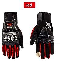 ACHICOO 防水オートバイの手袋アウトドアスポーツハードシェル保護サイクリング手袋 タッチスクリーン赤 XXL