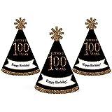 大人用100th誕生日 – ゴールド – Mini円錐Birthday Party Hats – Small Little Party Hats – 10のセット