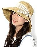 ベージュボーダー F (ディーループ)D-LOOP UV カット カプリーヌハット リボン 付き 折り畳み 可能 女優帽 レディース つば広 日よけ 折りたたみ ハット 無地 かわいい 紫外線 対策 日除け つばひろ 麦わら 帽子 ぼうし つば広帽子 つば広め 122592-010-501