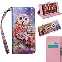 [Lenovo A1010] Case, MGVV [Wallet Stand] Painting Colour Kickstand Credit Cards Slot Cash Pockets PU Leather Flip Wallet Case for Lenovo A1010 Owl
