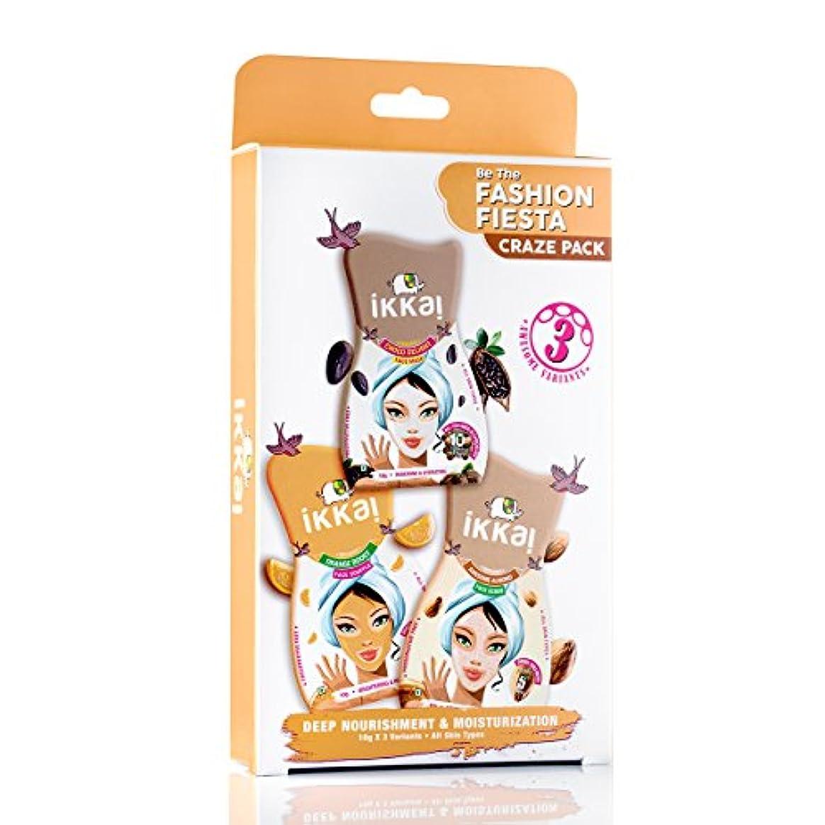 バングラデシュオーストラリアシロナガスクジラIkkai by Lotus Herbals Fashion Fiesta Craze Pack (1 Face Mask, 1 Face Scrub and 1 Face Souffle)