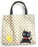 フルーツキャット バナナ ミニトートバッグ レディース フルーツ柄 ランチバック 黒猫 かわいい グッズ 雑貨 猫柄