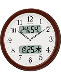 CITIZEN シチズン 掛け時計 電波時計 温度・湿度計付き ネムリーナカレンダー M01 ブラウン 4FYA01-006