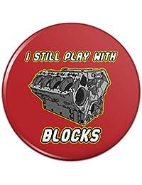 私はまだブロックで遊ぶ自動車メカニック車エンジンピンバックボタンピンバッジ - 1