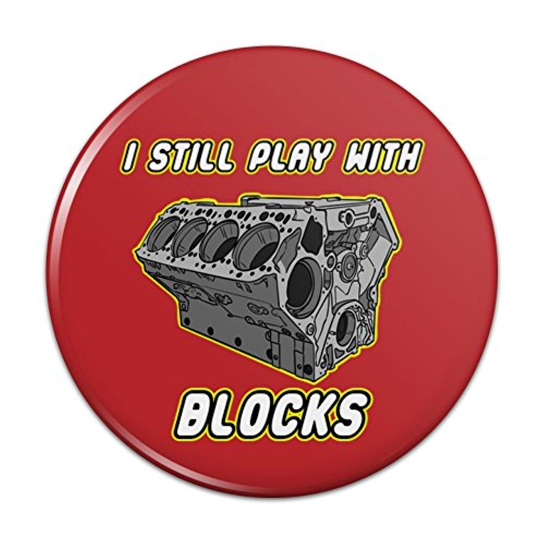 私はまだブロックで遊ぶ自動車メカニック車エンジンピンバックボタンピンバッジ - 3