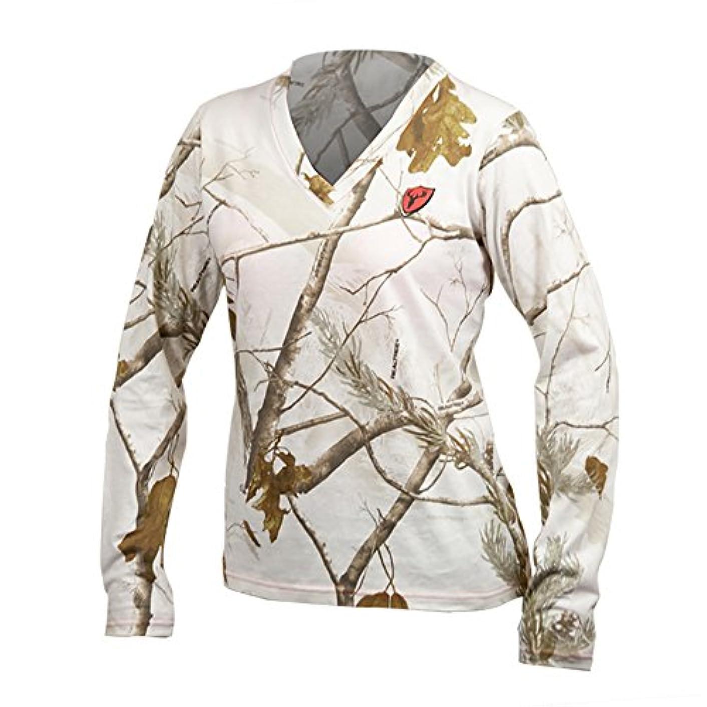 疑問を超えて膨らませるプレゼントScentLokレディースL/Sシャツ(Snow Camo, Small)