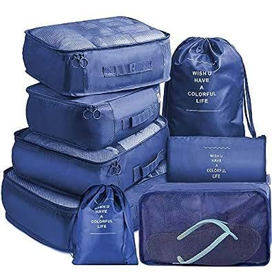 トラベルポーチ 8点セット アレンジケース BeBravo パッキングバッグ 軽量 防水 旅行 出張 整理 衣類・下着・洗面用具・小物・靴用 収納ポーチ