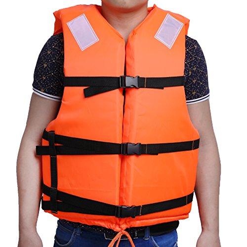 ライフジャケット フローティングベスト 大人用 子供用 救命胴衣 安全対策 反射材料 緊急場合対応 目立ちタイプ 水泳 高い浮力 親子活動 サイズ調節可 オレンジ (オレンジ- 大人用)