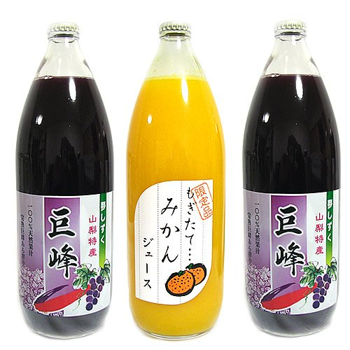 無添加 無調整 ストレートフルーツジュース 詰め合わせ 1L×3本入 ぶどう ぶどう みかん