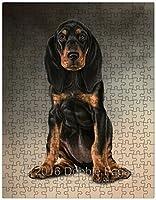 Black & Tan Coonhound Dog Art Portrait Print 252Pc。パズルwithフォトTin