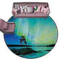 キッチンドアマット ノーザンライト 高速道路 北欧 空光線 超現実的な太陽の雰囲気イメージ ブルーライムとシダグリーン 丸型 寝室ラグ Diameter 72(inch)