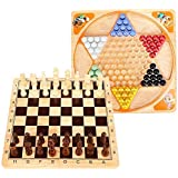 Lewo 2 in 1 Wooden Chess Set Chinese Checkers Board Table Games for Kids Adults Family [並行輸入品]
