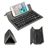 Battop改良版キーボード Bluetoothキーボード 日本語カナ/ローマ字入力 折り畳み式ワイヤレスキーボード 専用の収納袋付きIOS/Android/Windowsシステムで切り替え可能 (グレー)