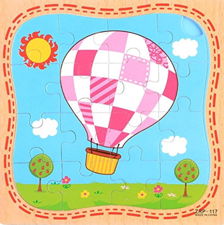 HuaQingPiJu-JP 創造的な木製の教育的なパズルアーリーラーニング番号の形の色の動物のおもちゃ子供のための素晴らしいギフト(熱気球)