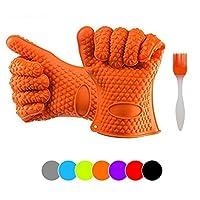 CookproシリコンOV for BBQグリル、ベーキング、鍋つかみとキッチン使用; Extra Thickグローブ1( 190g )耐熱性、ノンスリップ、ウォータープルーフ、食器洗い機safe-with BBQブラシ オレンジ