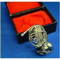 飾り物ミニチュア楽器 フレンチホルン 1/6サイズ シルバー