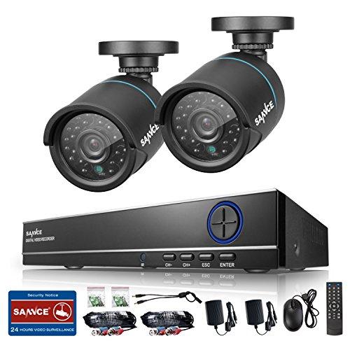 SANNCE 防犯カメラ屋外セット 4ch 防犯レコーダー + 100万画素カメラ2台セット最新AHD型CMOS センサー (HDDなし)