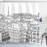 パリのシャワーカーテン、パリの屋根とエッフェル塔のプリントの建築テーマの設計図、黒と白のフック付き布生地のバスルームの装飾セット 180X180 CM
