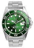 [HYAKUICHI 101] ダイバーズウォッチ 20気圧防水 日付表示 逆回転防止ベゼル 腕時計 メタルバンド グリーン メンズ