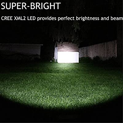 Rechargeable Tactical 18650 USB Flashlight, Powerful Cree XML2 Led Flashlights, Stepless Dimming Bright 1500 Lumens Waterproof Torch Light, Intelligent Power Indicator, Battery+Charge Cable Included