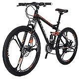 EUROBIKE S7 マウンテンバイク MTB 27.5 21変速 前後のディスクブレーキ 3本スポーク車輪 通勤通学 自転車 Black/Orange